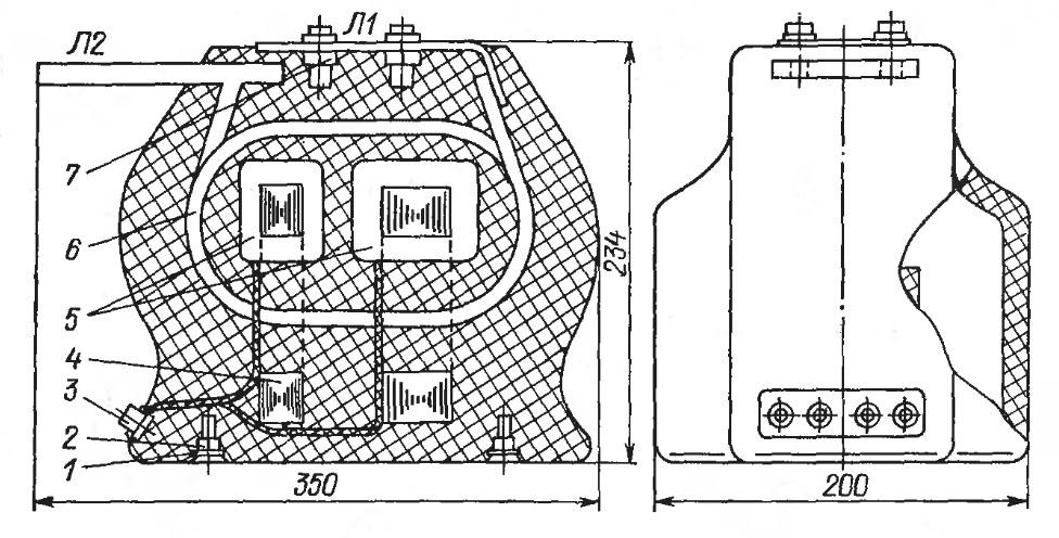 Конструкция трансформатора ТЛМ-10-1 старого типа